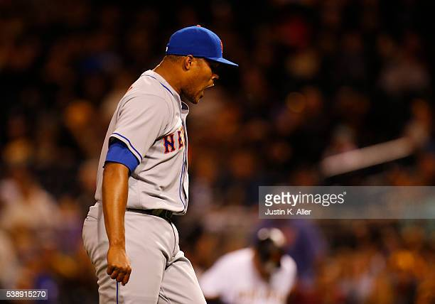 Jeurys Familia of the New York Mets reacts after closing the game in the tenth inning during the game against the Pittsburgh Pirates at PNC Park on...
