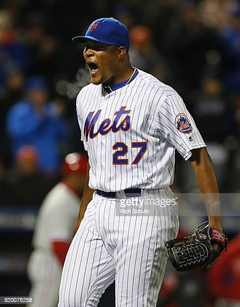 Jeurys Familia of the New York Mets reacts after getting Cameron Rupp of the Philadelphia Phillies to groundout with the bases loaded to end the top...