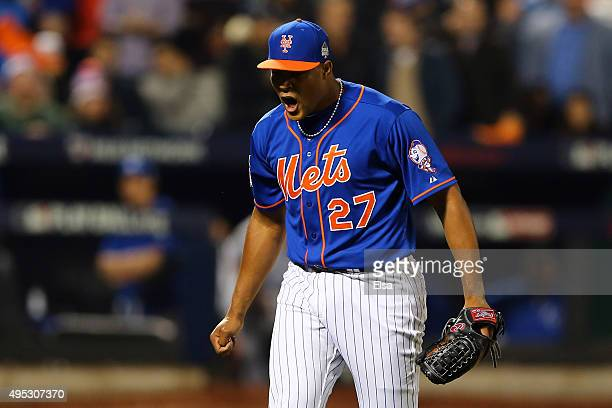 Jeurys Familia of the New York Mets reacts after retiring the side in the tenth inning against the Kansas City Royals during Game Five of the 2015...