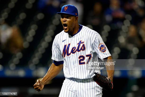 Jeurys Familia of the New York Mets reacts after the final out during the sixth inning against the Arizona Diamondbacks at Citi Field on May 8, 2021...