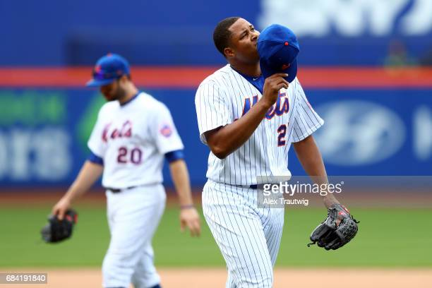 Jeurys Familia of the New York Mets reacts as he leaves the mound during the game against the San Francisco Giants at Citi Field on Wednesday May 10...