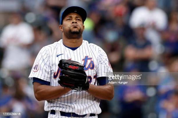 Jeurys Familia of the New York Mets reacts during the seventh inning against the San Diego Padres at Citi Field on June 13, 2021 in the Flushing...