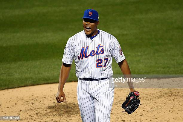 Jeurys Familia of the New York Mets reacts in the eighth inning against the Kansas City Royals during Game Four of the 2015 World Series at Citi...