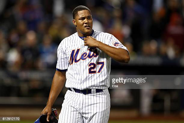 Jeurys Familia of the New York Mets reacts in the ninth inning after giving up a threerun homerun against the San Francisco Giants during their...