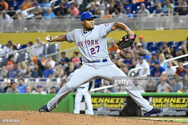 Jeurys Familia of the New York Mets throws a pitch during the 9th inning of the game between the Miami Marlins and the New York Mets at Marlins Park...