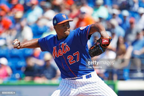 Jeurys Familia of the New York Mets throws a pitch in the fifth inning of a Grapefruit League spring training game against the Miami Marlins at...