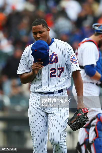 Jeurys Familia of the New York Mets walks off the mound in the ninth inning after giving up four runs against the San Francisco Giants at Citi Field...
