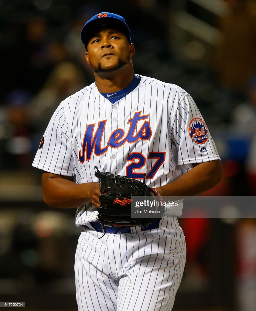 Jeurys Familia #27 of the New York Mets walks to the dugout after the eighth inning against the Washington Nationals at Citi Field on April 16, 2018 in the Flushing neighborhood of the Queens borough of New York City.