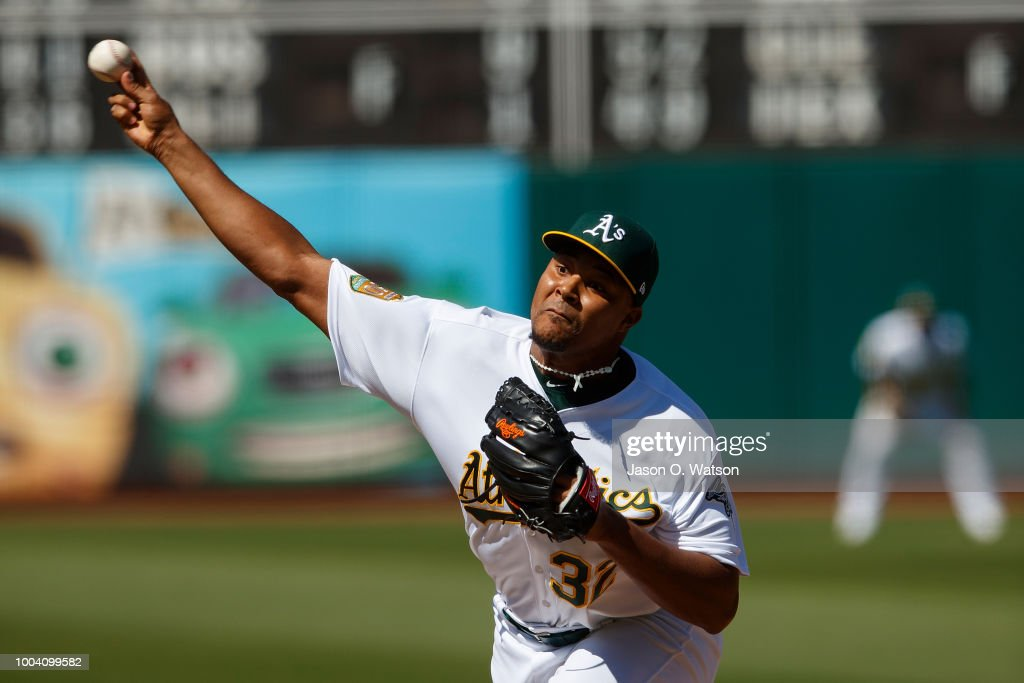 Jeurys Familia #32 of the Oakland Athletics pitches against the San Francisco Giants during the ninth inning at the Oakland Coliseum on July 22, 2018 in Oakland, California. The Oakland Athletics defeated the San Francisco Giants 6-5 in 10 innings.