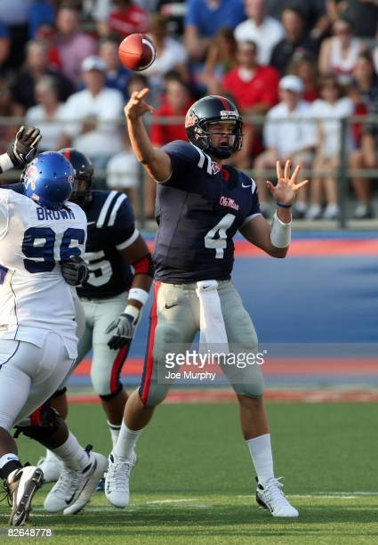 Jevan Snead of the Mississippi Rebels throws downfield past Jada Brown of the Memphis Tigers during a game on August 30, 2008 at Vaught-Hemingway...