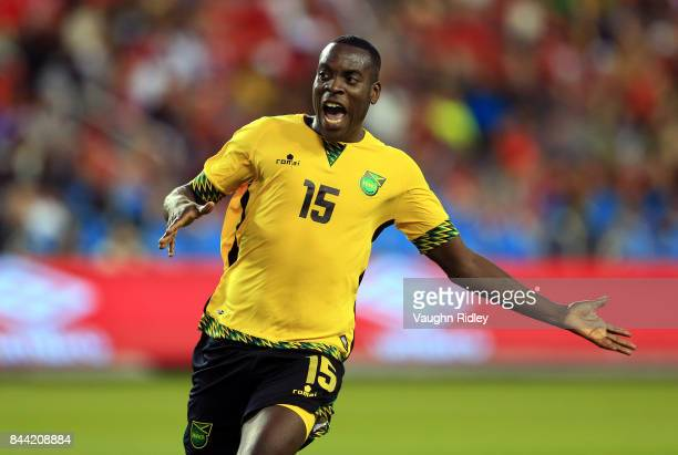 Je-Vaughn Watson of Jamaica reacts during an International Friendly match against Canada at BMO Field on September 2, 2017 in Toronto, Canada.