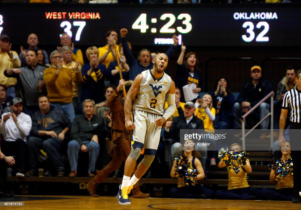 Jevon Carter #2 of the West Virginia Mountaineers reacts after hitting a three against the Oklahoma Sooners at the WVU Coliseum on January 6, 2018 in Morgantown, West Virginia.