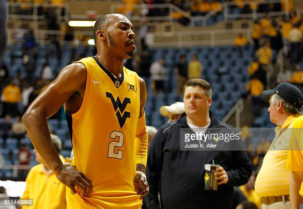 Jevon Carter of the West Virginia Mountaineers reacts after the game against the Oklahoma Sooners at the WVU Coliseum on February 20, 2016 in...