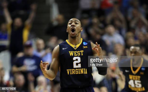 Jevon Carter of the West Virginia Mountaineers reacts in the second half against the Gonzaga Bulldogs during the 2017 NCAA Men's Basketball...
