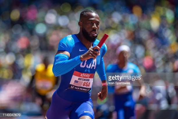 JeVon Hutchison of Team USA at the 125th Annual Penn Relays Track and Field Meet on April 27 at Franklin Field in Philadelphia PA
