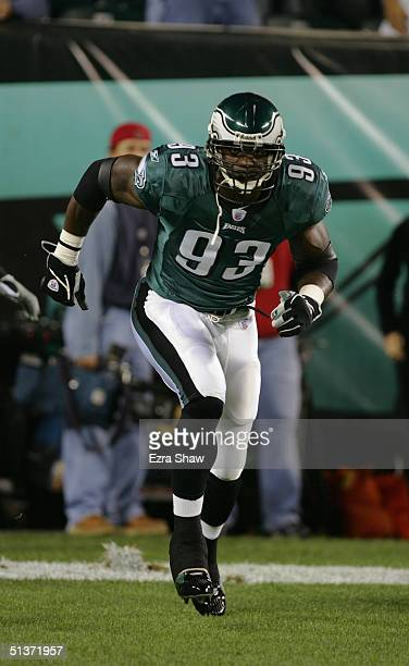 Jevon Kearse of the Philadelphia Eagles runs up the field during the NFL game against the Minnesota Vikings at Lincoln Financial Field on September...