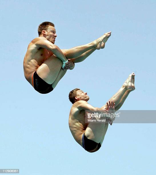 Jevon Tarantino right and synchronized diving partner Chris Colwill practice at the Fort Lauderdale Hall of Fame Diving Pool in Fort Lauderdale...