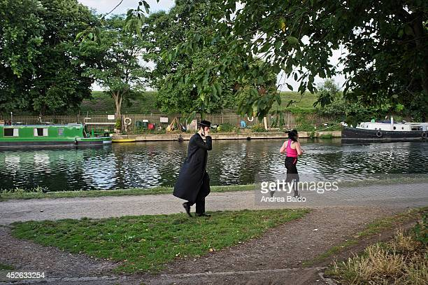 A jew and a runner on the Lea River in the Walthamstow Marshes East London