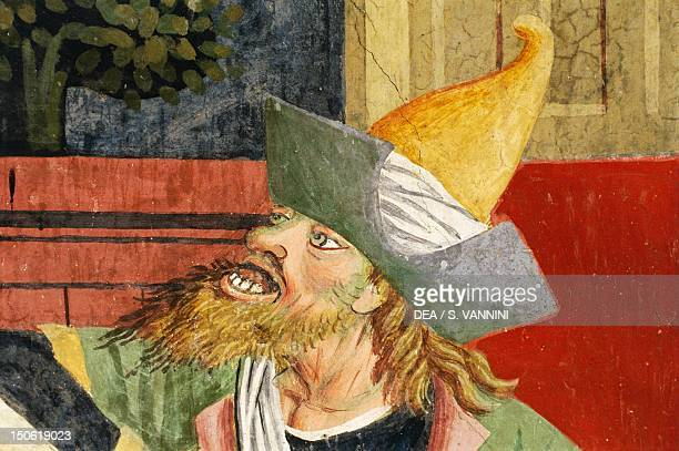 Jew in medieval oriental clothes, detail from Jesus before Caiaphas, fresco, by Giovanni Canavesio in the Notre-Dame des Fontaines Chapel, La Brigue....