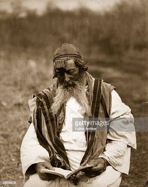 A Jew of Georgia wearing a phylactery on his forehead which is a box carrying a slip of parchment inscribed with passages of Scripture