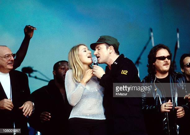 Jewel, Bono and Zucchero during Net Aid - October 9, 1999 at Giants Stadium in Meadowlands, New Jersey, United Kingdom.
