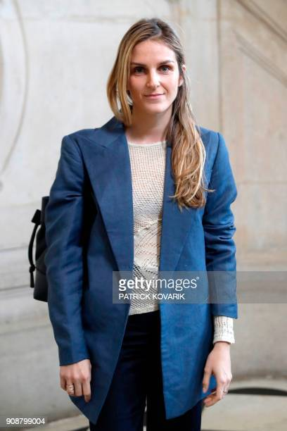 Jewel designer Gaia Reposs poses for a photocall prior to the Christian Dior's fashion show during the 2018 spring/summer Haute Couture collection on...