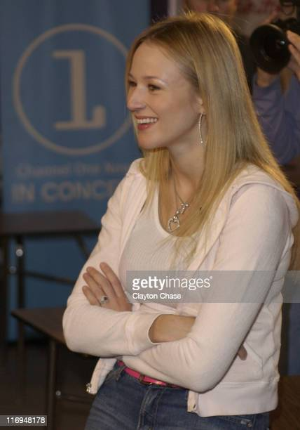 Jewel during Jewel special appearance and Channel One benefit concert at Lehi High School in Lehi Utah United States
