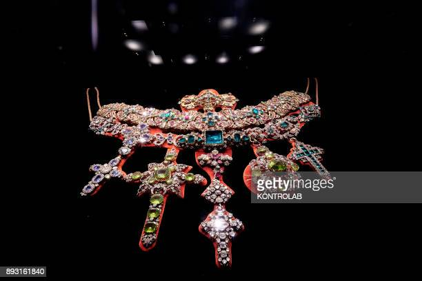 A jewel encrusted with precious stones in the museum of Saint Januarius in Naples Cathedral