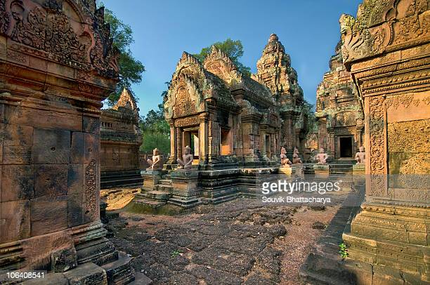 jewel of khmer art - banteay srei stock pictures, royalty-free photos & images