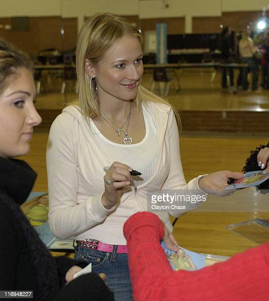 Jewel signing CDs during Jewel special appearance and Channel One benefit concert at Lehi High School in Lehi Utah United States