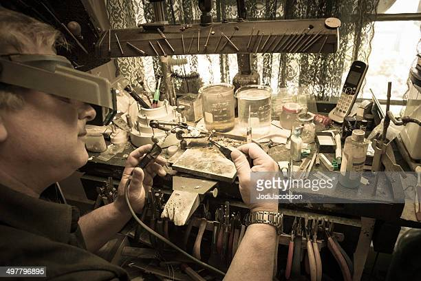 Jeweler at his workbench