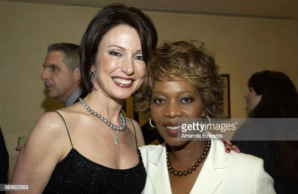 Jeweler Erica Courtney and actress Alfre Woodard attend a Pre-Oscar viewing party at Courtney's showroom on February 15, 2006 in Los Angeles,...