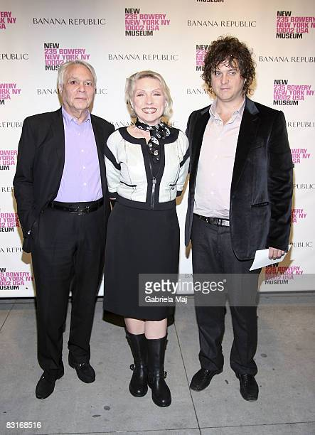 """Jeweler John Reinhold, Singer Debbie Harry and Tony Just attend the """"Live Forever: Elizabeth Peyton"""" preview at The New Museum on October 7, 2008 in..."""