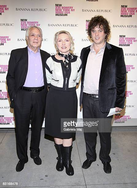 Jeweler John Reinhold Singer Debbie Harry and Tony Just attends the Live Forever Elizabeth Peyton preview at The New Museum on October 7 2008 in New...