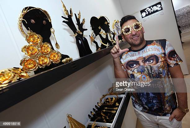 Jeweler Ken Hananya Borochov of New York displays his designs at Scope art fair during Art Basel Miami Beach in Miami Florida on Thursday December 3...