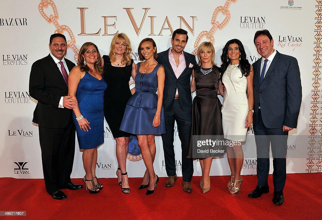 Jeweler Moosa LeVian, Elizabeth LeVian, model Cheryl Tiegs, television personality Giuliana Rancic, Bill Rancic, Harper's Bazaar Executive Beauty and Fashion Editor Avril Graham, Miranda LeVian and Eddie LeVian arrive at the 2015 Le Vian Red Carpet Revue at the Mandalay Bay Convention Center on June 1, 2014 in Las Vegas, Nevada.