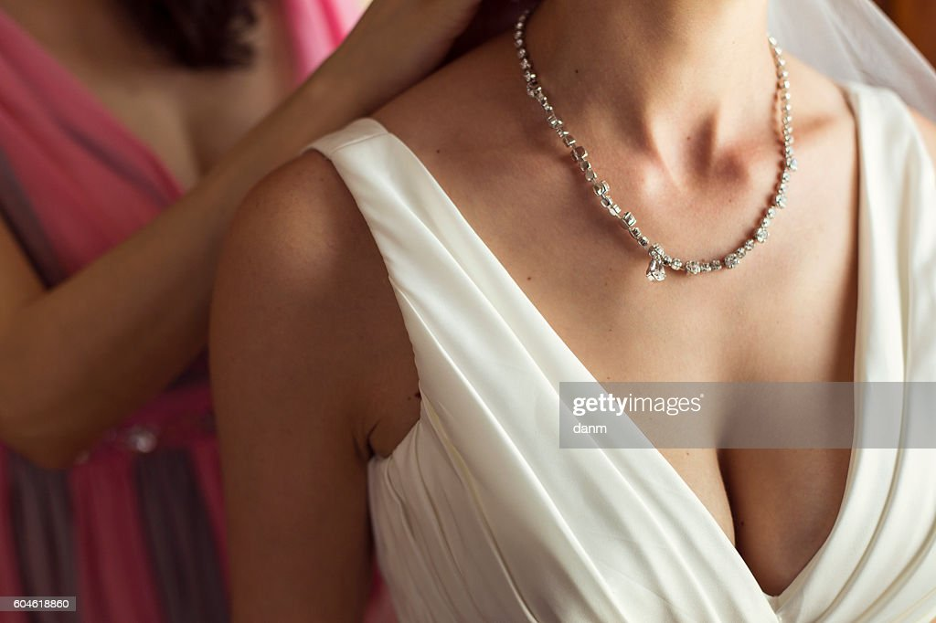jeweler necklace on the woman's neck : Stock Photo