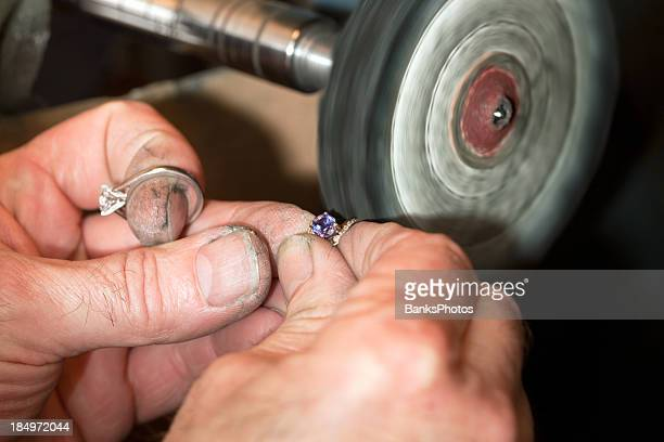 Jeweler Polishing a Amethyst and Diamond Ring