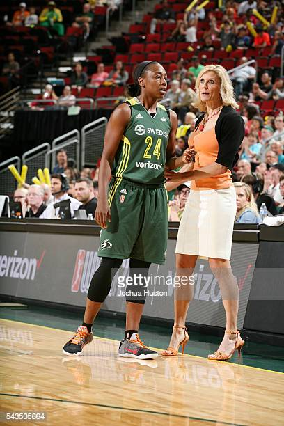 Jewell Loyd and head coach Jenny Boucek of the Seattle Storm talk during the game against the Atlanta Dream on June 28 2016 at Key Arena in Seattle...