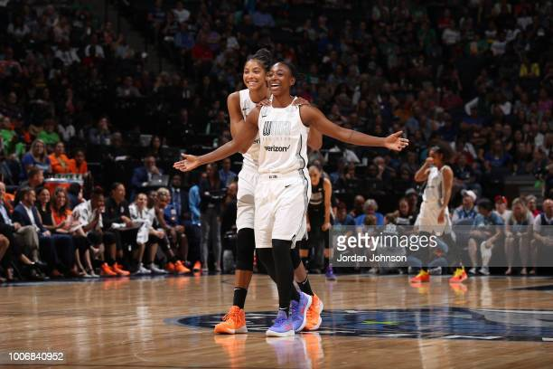 Jewell Loyd of Team Parker and Candace Parker of Team Parker look on during the Verizon WNBA AllStar Game on July 28 2018 at the Target Center in...