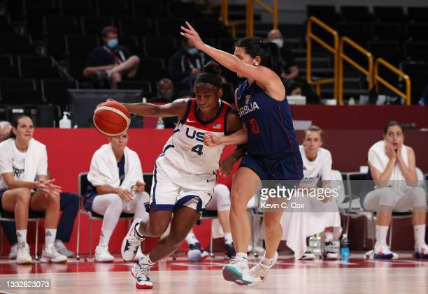 Jewell Loyd of Team United States drives to the basket against Dajana Butulija of Team Serbia during the second half of a Women's Basketball...