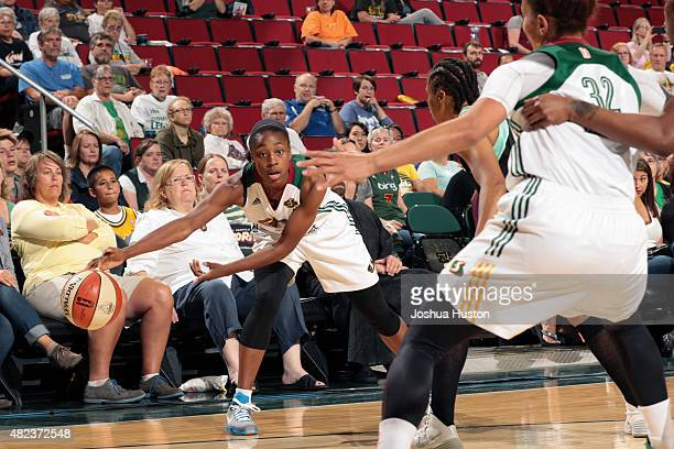 Jewell Loyd of the Seatte Storm pass the ball against the New York Liberty on July 21 2015 at Key Arena in Seattle Washington NOTE TO USER User...