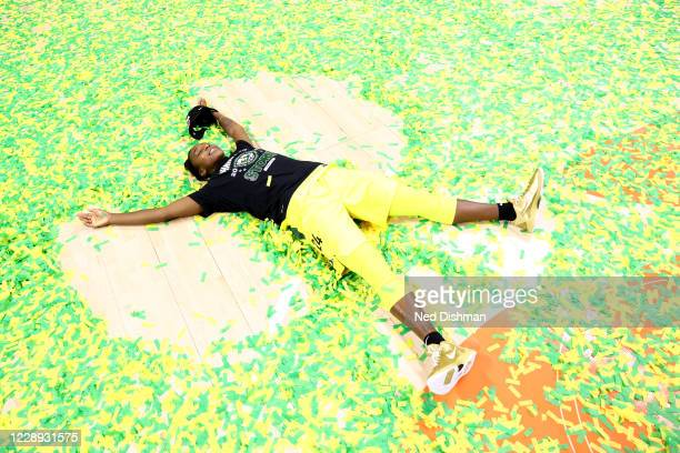 Jewell Loyd of the Seattle Storm celebrates after defeating the Las Vegas Aces and winning the 2020 WNBA Championship in Game Three of the WNBA...