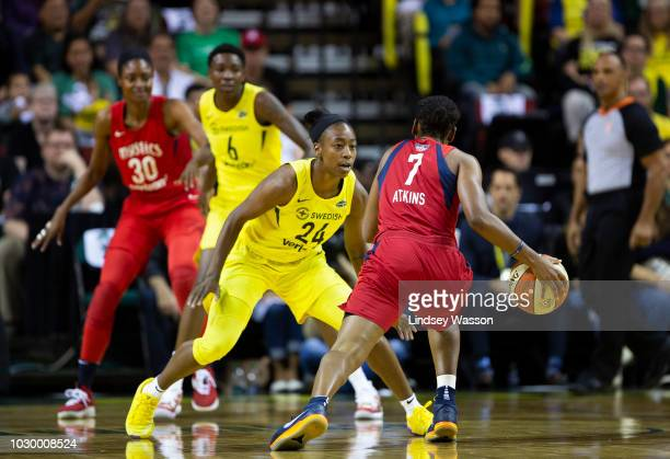 Jewell Loyd of the Seattle Storm defends against Ariel Atkins of the Washington Mystics during the first half of Game 2 of the WNBA Finals at...