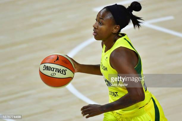 Jewell Loyd of the Seattle Storm dribbles during the first half of Game One of their Third Round playoff against the Minnesota Lynx at Feld...