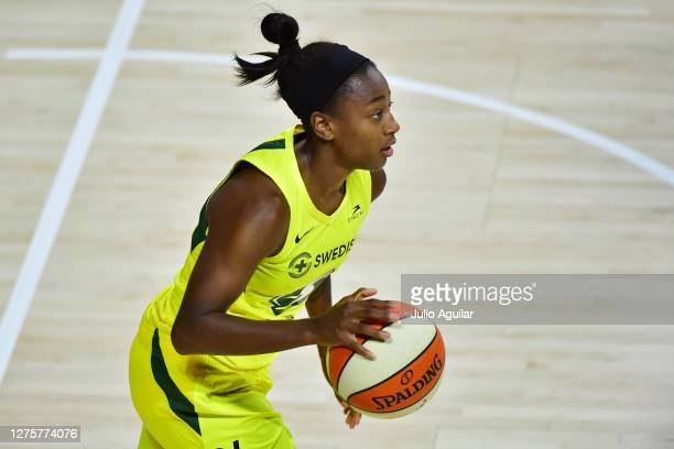 Jewell Loyd of the Seattle Storm dribbles during the second half against the Minnesota Lynx in Game One of their Third Round playoff at Feld...