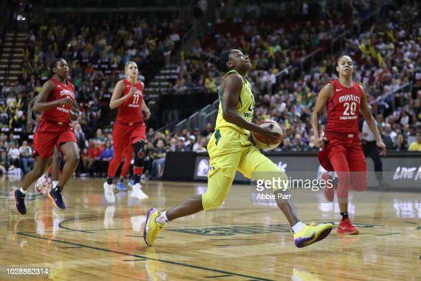 Jewell Loyd of the Seattle Storm dribbles towards the basket in the first quarter against the Washington Mystics during game one of the WNBA Finals...