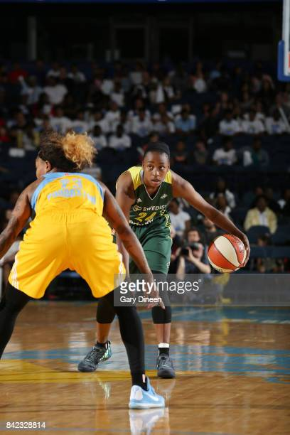 Jewell Loyd of the Seattle Storm handles the ball against the Chicago Sky on September 3 2017 at Allstate Arena in Rosemont IL NOTE TO USER User...