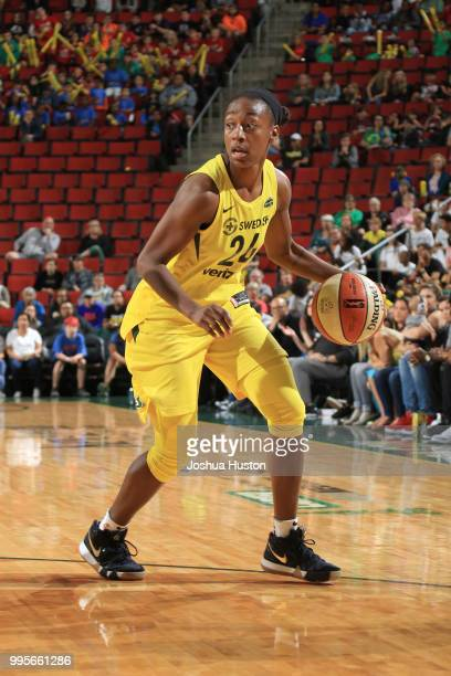 Jewell Loyd of the Seattle Storm handles the ball against the Los Angeles Sparks on July 10 2018 at Key Arena in Seattle Washington NOTE TO USER User...