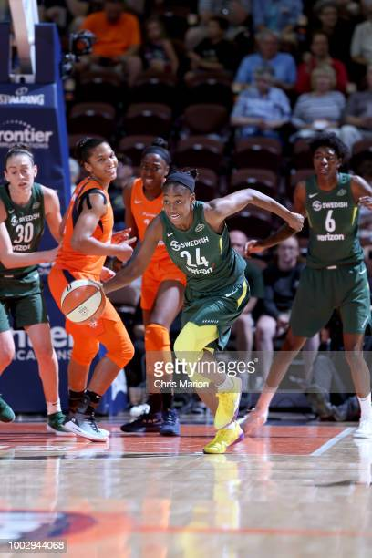 Jewell Loyd of the Seattle Storm handles the ball against the Connecticut Sun on July 20 2018 at the Mohegan Sun Arena in Uncasville Connecticut NOTE...